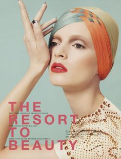 Look at the weave!  And the delicious orange and blue!  Daria Strokous for Vogue Nippon