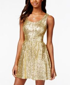 B Darlin Juniors' Sequin Bow-Back Fit-and-Flare Dress