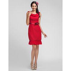 Sheath/Column Cowl Knee-length Chiffon Bridesmaid Dress – USD $ 79.19