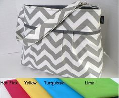 The Monterey Diaper Bag Medium  In Grey Chevron  You by BagEnvy, $75.00