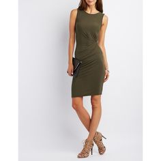 Charlotte Russe Ruched Side Bodycon Dress ($23) ❤ liked on Polyvore featuring dresses, olive, body con dress, olive green bodycon dress, olive dress, charlotte russe dresses and bodycon dress
