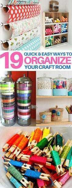 You MUST check these craft room organization hacks out! organization tips & tricks, craft room ideas, sewing hacks, knitting hacks, sewing room, scrapbooking #scrapbooktips