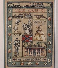 Dixie Civil War Sampler Cross Stitch by saintlyimagesandmore