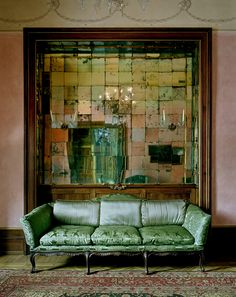 Antique Mirrored Tiles, Green Velvet Sofa Couch, Victorian Rustic Interior      Modern Bohemian Boho Interior Design / Vintage And Mod Mix With Nature,  ...
