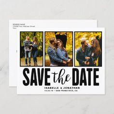 Modern Rustic Photo Collage White Announcement Postcard Postcard Size, Artwork Design, Modern Rustic, Wedding Events, Engagement Photos, Announcement, Collage, Lettering, Prints