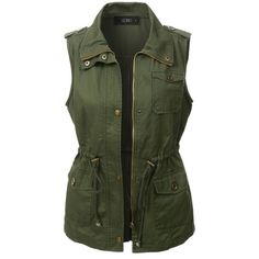 LE3NO Womens Utilitarian Green Anorak Vest ❤ liked on Polyvore featuring outerwear, vests, anorak vest, long green vest, green military vest, slimming vest and lightweight anorak jacket