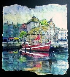 Fishing Boat In Honfleur Harbour Painting by Bev Morgan