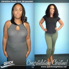 "Congratulations to Christine Forde from Royal Palm Beach, Florida for losing 56 pounds on the Quick Weight Loss Centers program! ""I was surprised that I was not hungry on the QWLC program, and I loved the fast rate at which I lost weight. I want to tell others to try Quick Weight Loss. Consistency is the key; you will lose weight if you follow the QWLC plan!"" -Christine. Read her Quick Weight Loss success story: http://quickweightloss.net/testimonials?id=56.forde #qwlc #weightloss"