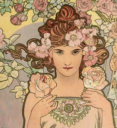 "Alphonse Mucha ""The Rose"" 1898 (Detail)"