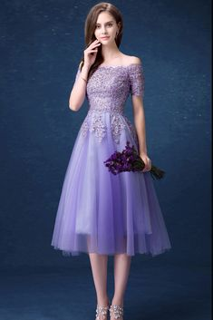 Buy Beautiful Lavender Lace Beading Prom Dress With Off Shoulder Short  Sleeves at wholesale price online 696b13ed96a8