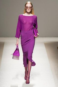 Radiant Orchid at Max Mara S/S 2014. All I can say is that Michelle Obama is a fan and that's good enough for me. Percentage of designers who used it- 15.88%