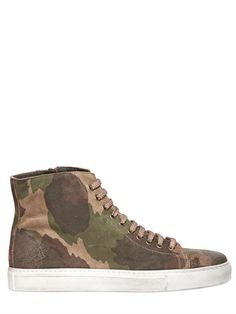 CALZOLERIA TOSCANA - CAMO PRINTED LEATHER HIGH TOP SNEAKERS - LUISAVIAROMA - LUXURY SHOPPING WORLDWIDE SHIPPING - FLORENCE