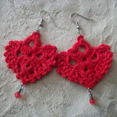 "Crocheted Lace ""Sacred Heart"" Earrings I made (winged hearts of Christ). Antique silver french hooks. Hand-wrapped red bead detail."