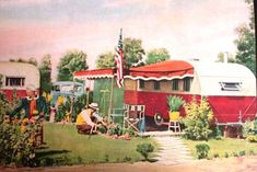 A Color postcard of a 1947 Trailer Park in Virginia.