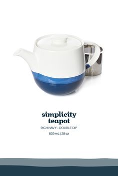 Escape to Greece with this classic indigo-dipped porcelain teapot.