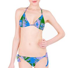 Suga Lane Retro Floral Delights Blue Green Bikini Swimsuit – ABBY ESSIE
