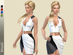 A tight satin dress in contrasting colors. For sims used to dress casual but who want to get noticed. In four colors.  Found in TSR Category 'Sims 4 Female Everyday'