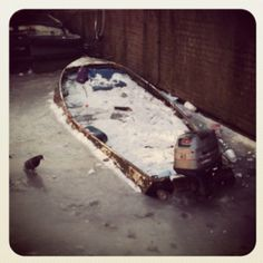 Boats trapped by ice