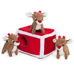 ZippyPaws Holiday Reindeer Pen Burrow Squeaky Plush Hide and Seek Dog Toy $11