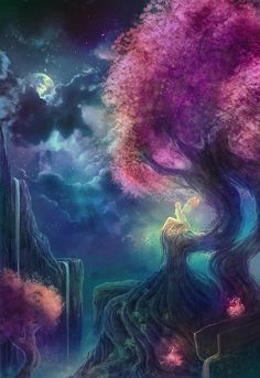 Ideas For Beautiful Tree Illustration Fantasy Fantasy Places, Fantasy World, Dream Fantasy, Archangel Gabriel, Fantasy Landscape, Fairy Art, Mythical Creatures, Oeuvre D'art, Faeries