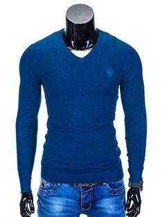 SWETER E74 - CIEMNY NIEBIESKI - Sklep Ombre What To Wear, Men Sweater, Sweaters, Fashion, Moda, Sweater, Fasion, Pullover