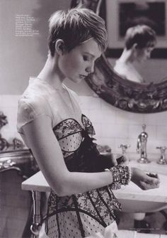 Mia Wasikowska. my favourite hair, with a stunning and different dress.