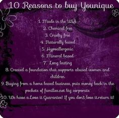 Younique has the finest quality of 100% natural based skin care and cosmetics. www.youniqueproducts.com/valajamison