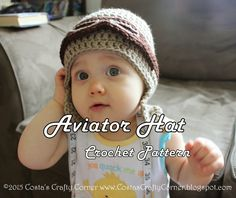 Costa's Crafty Corner: Project: Crochet Earflap Aviator Hat=free photo tutorial