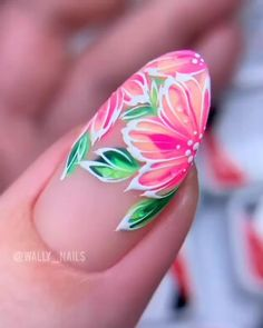 Flowers Nail Art ideas 2020 step by step tutorial Gel Nail Art Designs, Nail Art Designs Videos, Nail Art Videos, Simple Nail Designs, Fruit Nail Designs, Rose Nail Art, Floral Nail Art, Rose Nails, Flower Nails