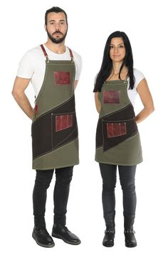 """Cafe apron, luxury item, premium quality leather & cotton, w/ accessories pockets, """"Khaki / Dark Brown and Minoan Red"""" - LOSTRIS GAMMA Luxury Cafe, Cafe Apron, Barber Apron, Leather Suspenders, Apron Designs, Khaki Green, Leather Fabric, Barista, Work Wear"""
