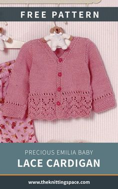 Precious Emilia Baby Lace Cardigan [FREE Knitting Pattern] - Craft this dainty knitted lace cardigan for a baby girl near and dear. This stunning knitwear makes for a lovely handmade baby shower present with an heirloom quality. Baby Knitting Patterns Free Newborn, Free Baby Patterns, Baby Cardigan Knitting Pattern Free, Kids Knitting Patterns, Baby Sweater Patterns, Crochet Baby Cardigan, Lace Cardigan, Crochet Hats, Booties Crochet