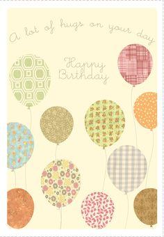 Free Printable Hugs On Your Birthday Greeting Card con punch de huevo hacer un cumulo de globos unos detras de otros