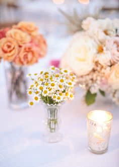 Daises and roses make such pretty little centerpieces Photography by Gia Canali / giacanali.com, Event Design and Production by Yifat Oren #centerpiece #weddingflowers