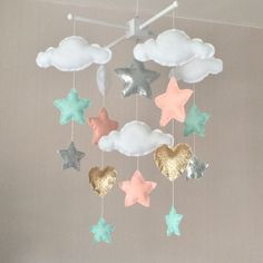 Baby mobile - Baby girl mobile - Cot mobile - Star mobile - Cloud Mobile  - Clouds, hearts and stars - Gold, mint, silver and pale coral