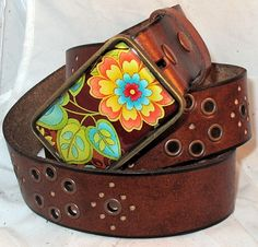 The Norma Belt - Turquoise, Lime and Orange Buckle with Brown Leather Belt