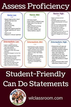 Assess Proficiency with Student-Friendly Ca Do Statements (French, Spanish) wlclassroom.com