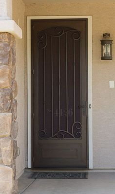 The security door that resulted from the search started for this board. Metal Screen Doors, Front Door With Screen, Wrought Iron Doors, House Front Door, Front Gates, Security Screen Doors, Wrought Iron Security Doors, Front Doors, Gate Design