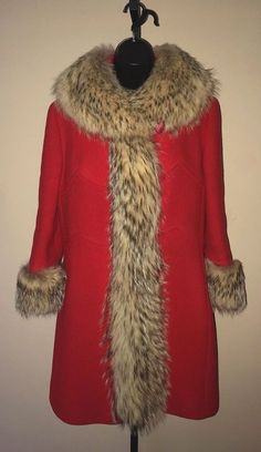 f3dba99cf2b Vintage COYOTE 70s size S M Fur Trimmed RED Wool Coat FUNKY Glam Chic  HIPPIE Mod  Braetan  Coat  Everyday