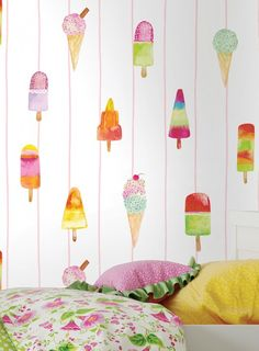 Just looking at this delicious wallpaper makes us salivate and reminisce about summer, sunshine . Kids Wallpaper, Wallpaper Samples, Pattern Wallpaper, Gelato, Basic Colors, Colours, Design Elements, Boy Or Girl, Wall Papers