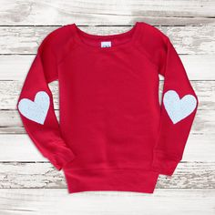 Valentines Day Shirt Red Sequin Heart Elbow Patch Sweatshirt Jumper... ($55) ❤ liked on Polyvore featuring tops, white, women's clothing, flat top, checkered shirt, red sequin top, red sequin shirt and oversized white shirt