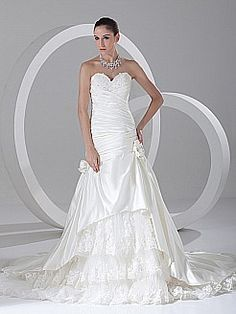 Sweetheart Satin Appliqued Mermaid Wedding Dress with Lace Underlay - USD $326.69