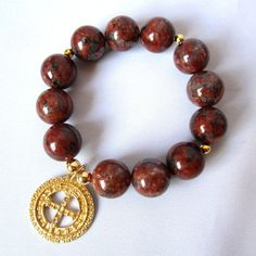 Saint Benedict Gold plated charm with brown by Thingsfromtheheart, $42.00