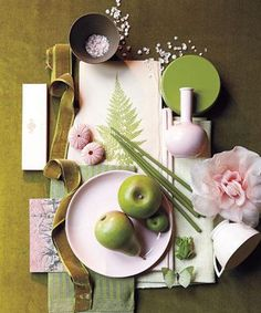 Moss Green, Petal Pink, Olive Color Palate Inspiration #homedecor #colorinspiration