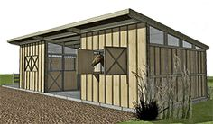Outpost Stables with 2 horse stalls tack shed and covered yard in the middle! Barn Plans, Shed Plans, Small Horse Barns, Bali Blinds, Horse Shelter, Pergola Pictures, Dream Barn, Horse Stalls, Cute Horses
