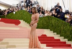 Beyonce went solo on the red carpet at this year's MET Gala. Her latex gown was by Givenchy.
