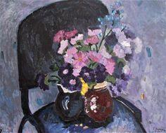 Flori violet,ulei/panza,50/60cm.