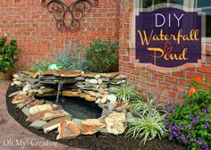 Diy garden waterfall and pond.  I have this exact pond form, and have been wondering what exactly to with it (it came with the house we bought, had been stuck in the ground and was a mosquito resort).  I relocated it, but was rather at a loss about how to go about doing something great with it.  Now I have a plan!  One more thing to add to the spring to-do list!