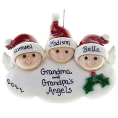 3 Grandkids Angels Cloud Ornament Salt Dough  MonsterMarketplace salt dough christmas decorations