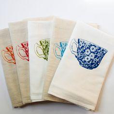 Tea Cup - Flour Sack Dish Towel. $12.00, via Etsy.