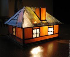 """Купить """"Домик"""" светильник - светильник, подарок, старинный, подсвечник, желтый, оригинальный подарок, Витраж"""